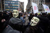 Occupy Wall Street supporters stage a protest on Union Square in New York November 17 2011 AFP PHOTO/Emmanuel Dunand