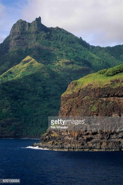 Ocean and Green Hills on Coastline