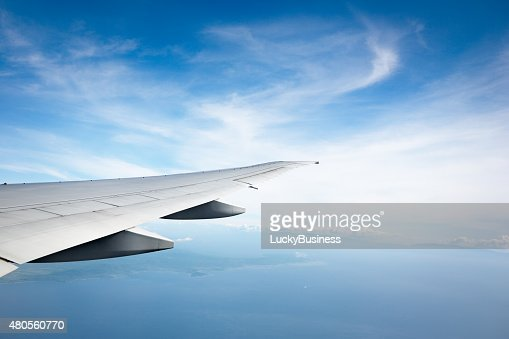 ocean and plane wing : Stock Photo