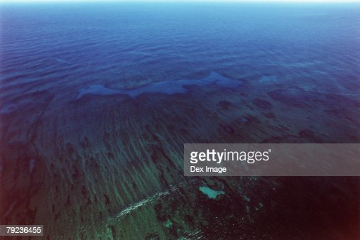 Ocean and reef, Kauai, Hawaii, USA, aerial view : Stock Photo