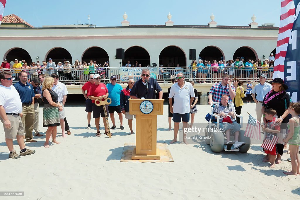 Ocean City Representative Michael Dattilo welcomes visitors to the Unlocking Of The Ocean and The Business Persons Plunge on May 27, 2016 in Ocean City, New Jersey.