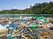 Big patch of ropes and garbage floating on the surface in front of a tropical island
