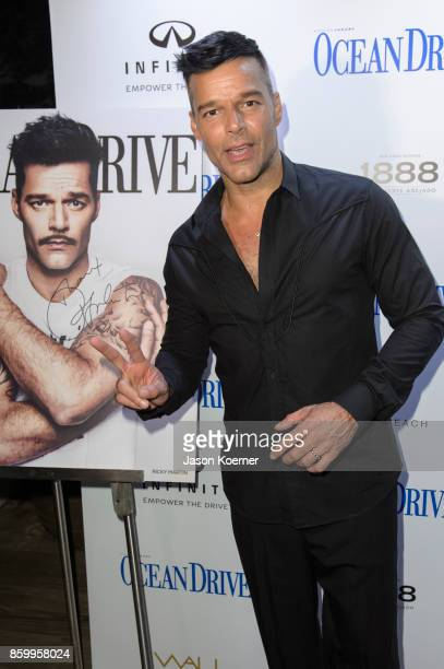 Ocean Drive Magazine and Ricky Martin honor Hurricane Victims in Puerto Rico at October Issue Debut at Wall at W South Beach on October 10 2017 in...