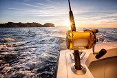 Ocean Fishing Reel on a Boat in the Ocean