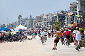 Ocean Front Strand with pedestrians.