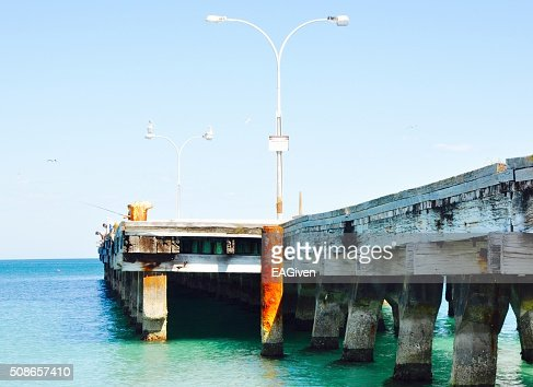 Ocean Jetty in Turquoise Waters : Stock Photo