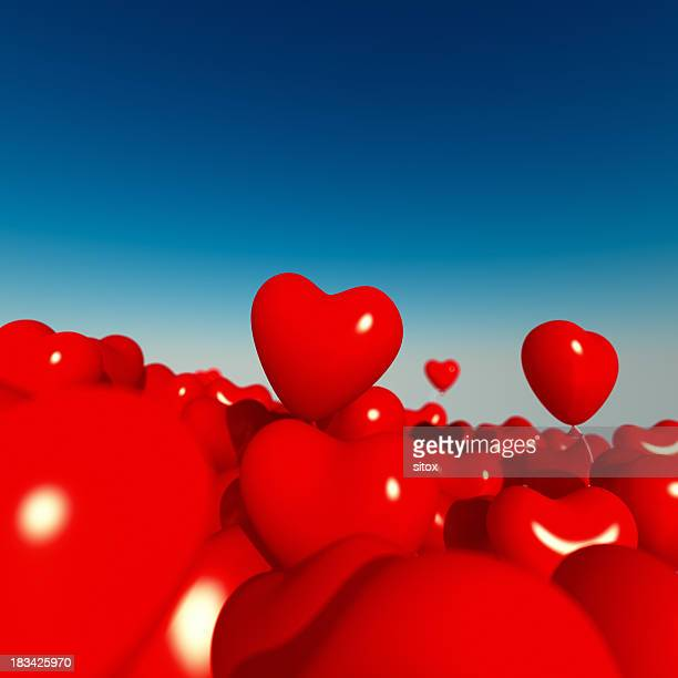 Ocean of Red Heart-Shaped Balloons