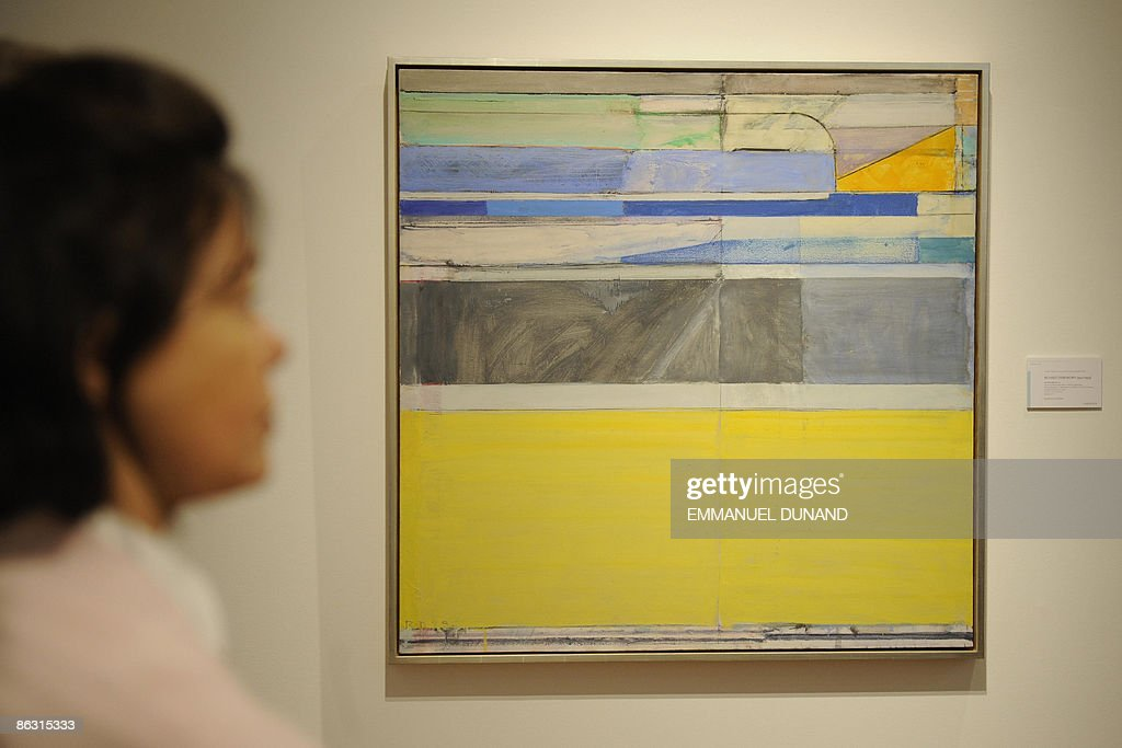 'Ocean Park No. 117' by artist Richard Diebenkorn is on displays at Christie's during a press preview of their Post War and Contemporary Art Evening Sales in New York on May 01, 2009. The painting will go under the hammer with an estimate of 4-6 million USD on May 13. AFP PHOTO/Emmanuel Dunand