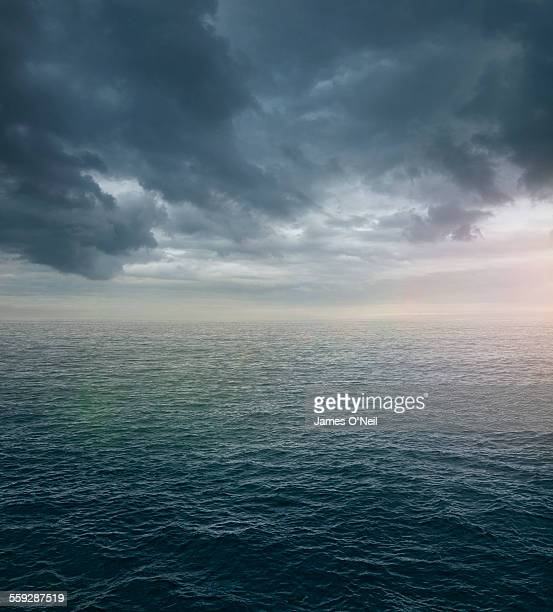 Ocean sea with dramatic clouds
