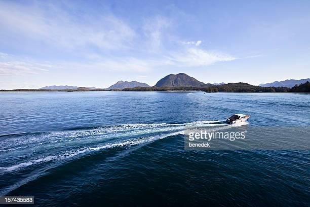 Ocean Shore with motorboat speeding away