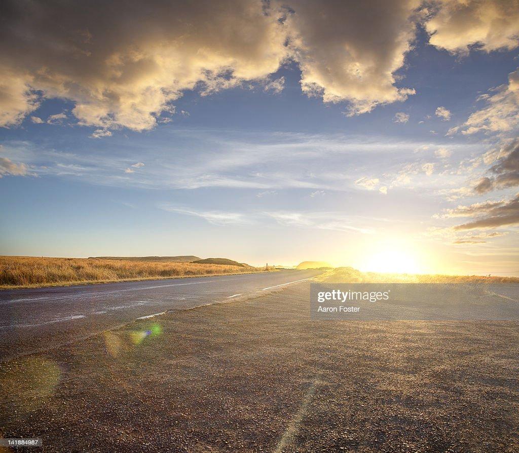 Ocean sunset road : Stock Photo