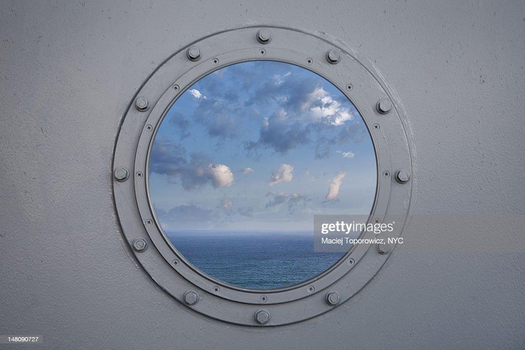 Ocean through porthole