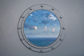 Ocean through porthole