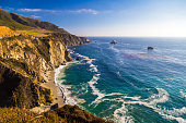 Ocean view near Bixby Creek Bridge in Big Sur, California