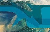 Ocean Wave With Digital Design Elements