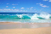 Ocean waves breaking on the beach, Sandy Beach Park, Oahu, Hawaii, USA