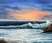 Original  oil painting of beautiful golden sunset over ocean beach on canvas.Modern Impressionism, modernism,marinism'n