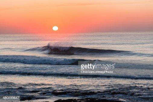 Ocean Waves Sunset : Stock Photo