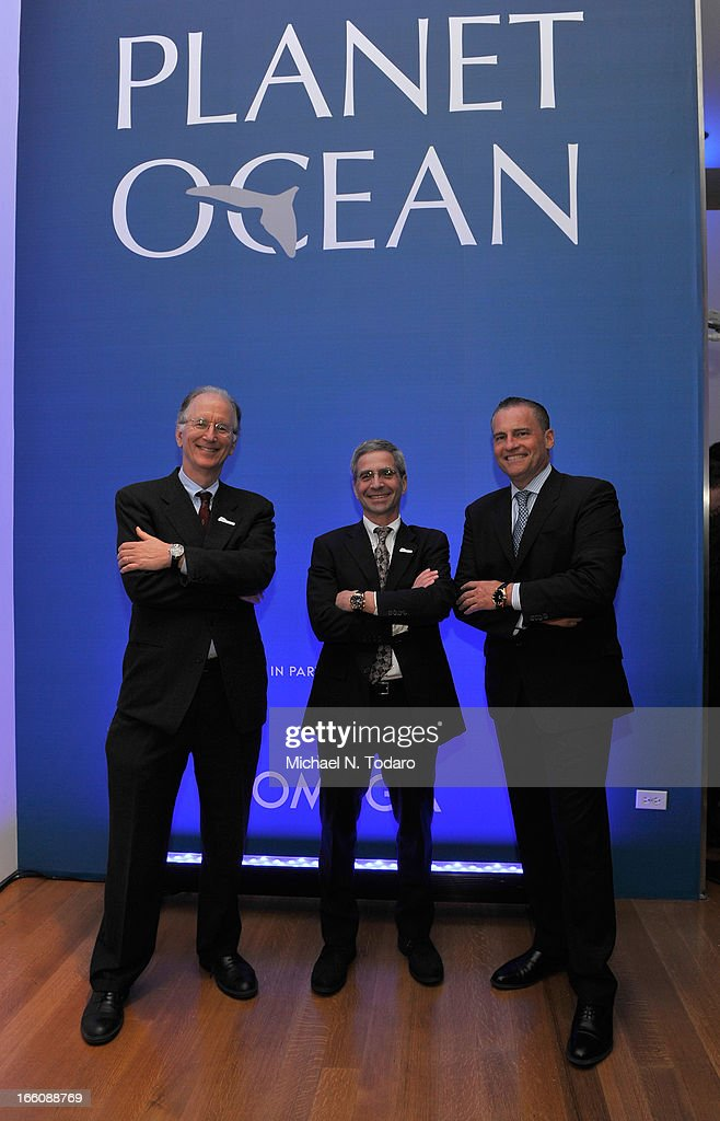 Oceana CEO Andy Sharpless, Jim Simon President of Oceana, and Gregory Swift President of Omega attend Omega At The Oceana Ball at Christie's on April 8, 2013 in New York City.