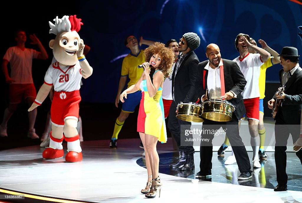 Oceana perform during the UEFA EURO 2012 Final Draw Ceremony on December 2 2011 in Kiev Ukraine