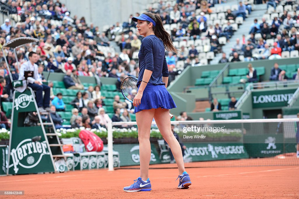 Oceane Dodin during the Women's Singles first round on day three of the French Open 2016 at Roland Garros on May 24, 2016 in Paris, France.