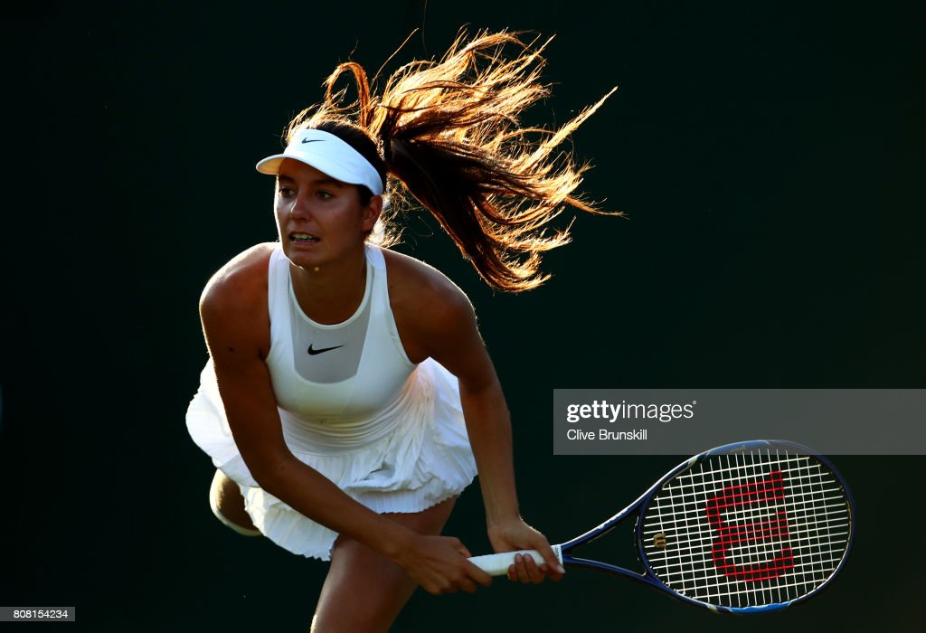 Oceane Dodin of France serves during the Ladies Singles first round match against Lucie Safarova of The Czech Republic on day two of the Wimbledon Lawn Tennis Championships at the All England Lawn Tennis and Croquet Club on July 4, 2017 in London, England.