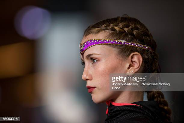 Oceane Piegad of France looks on prior to competing in the Junior Ladies Short Program during day one of the ISU Junior Grand Prix of Figure Skating...