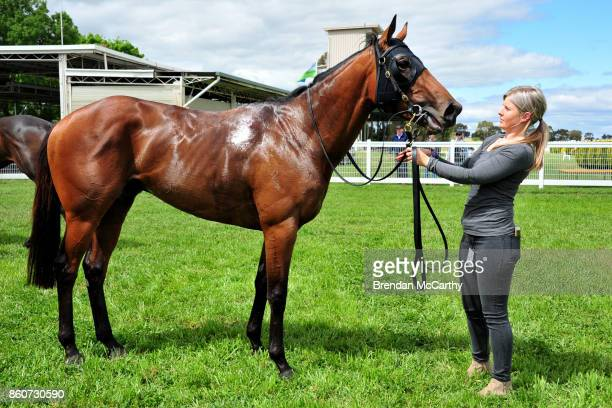 Ocean's Fourteen and strapper Kahlia Kominsky after winning the Weirs IGA Donald Maiden Plate at Donald Racecourse on October 13 2017 in Donald...