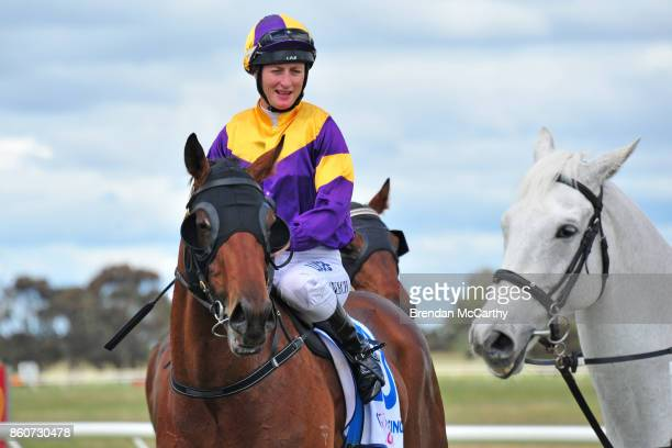 Ocean's Fourteen ridden by Linda Meech returns to the mounting yard after winning the Weirs IGA Donald Maiden Plate at Donald Racecourse on October...