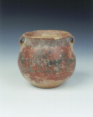 Ochre red slipped pottery jar with deer and archer Karuo culture China c2300c1800 BC A jar with two small handles covered with ochre red coloured...