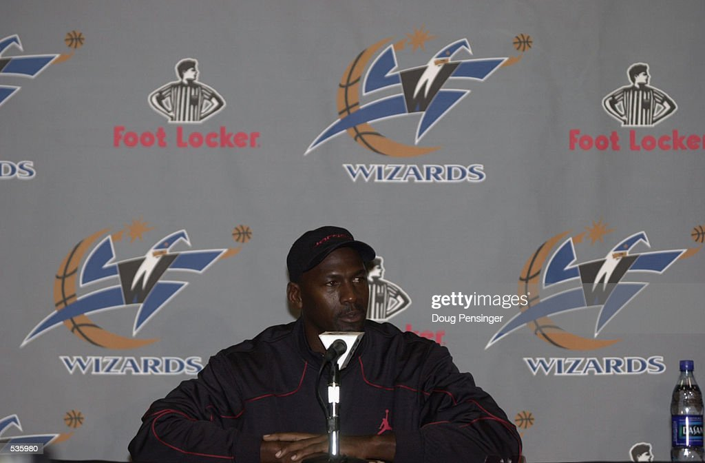 Michael Jordan addresses the media at a press conference at the MCI Center in Washington, DC, announcing his return to the NBA with the Washington Wizards. DIGITAL IMAGE Mandatory Credit: Doug Pensinger/Getty Images