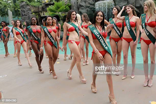 MANILA Oct 11 2016 Candidates pose for photos during the Miss Earth 2016 press presentation in Manila the Philippines Oct 11 2016 84 beauties from...