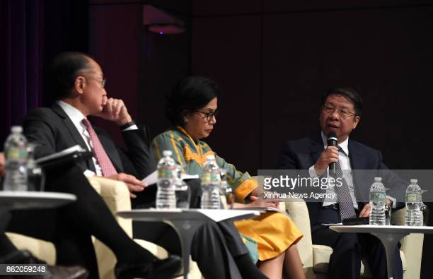 WASHINGTON Oct 12 2017 Chinese Vice Finance Minister Shi Yaobin speaks during a highlevel seminar on the Belt and Road Initiative in Washington DC...
