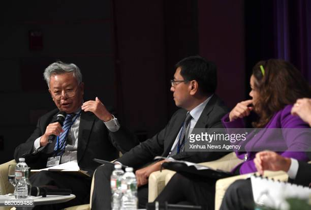WASHINGTON Oct 12 2017 President of Asian Infrastructure Investment Bank Jin Liqun speaks during a highlevel seminar on the Belt and Road Initiative...