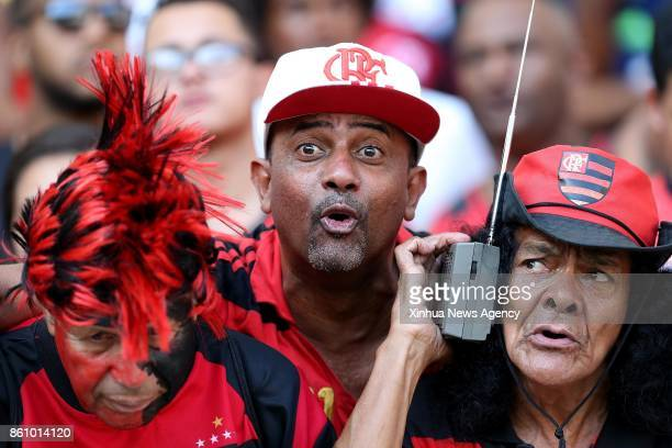 JANEIRO Oct 13 2017 Supporters of Flamengo react ahead of the 2017 Brazilian Serie A 27th round match between Fluminense and Flamengo at the Maracana...
