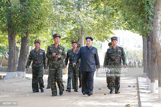 PYONGYANG Oct 16 2015 Photo provided by Korean Central News Agency on Oct 16 2015 shows top leader of the Democratic People's Republic of Korea Kim...