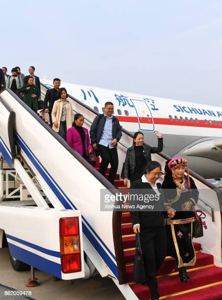 BEIJING Oct 16 2017 Delegates of Sichuan Province to the 19th National Congress of the Communist Party of China arrive at Capital International...