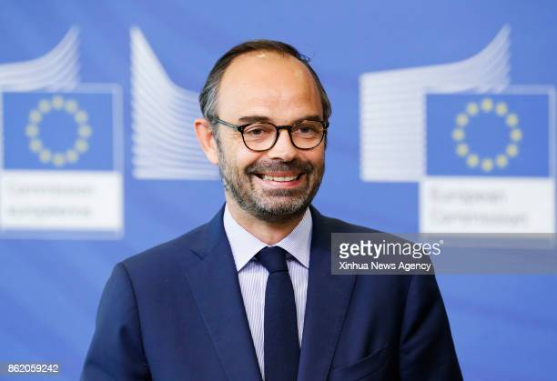 BRUSSELS Oct 16 2017 French Prime Minister Edouard Philippe gives a press briefing with European Commission President JeanClaude Juncker at EU...