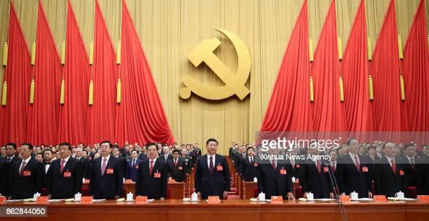 BEIJING Oct 18 2017 Xi Jinping Li Keqiang Zhang Dejiang Yu Zhengsheng Liu Yunshan Wang Qishan Zhang Gaoli Jiang Zemin and Hu Jintao attend the...
