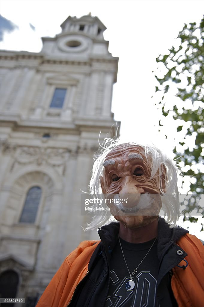 Oct 19 2011 London England UK A protestor dressed as Albert Einstein joins hundreds others camping outside St Paul's Cathedral as part of Occupy...