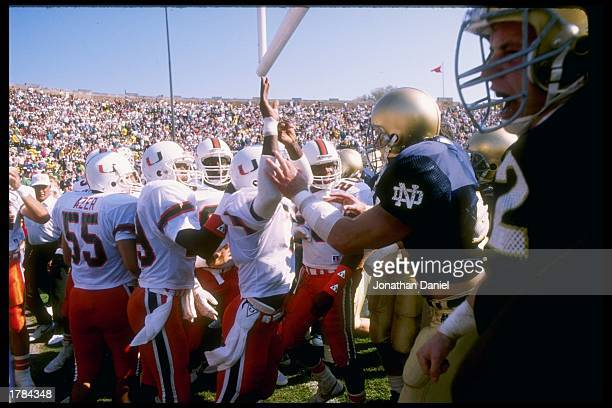 A fight breaks out before a game between the Miami Hurricanes and the Notre Dame Fighting Irish at Notre Dame Stadium in South Bend Indiana Notre...