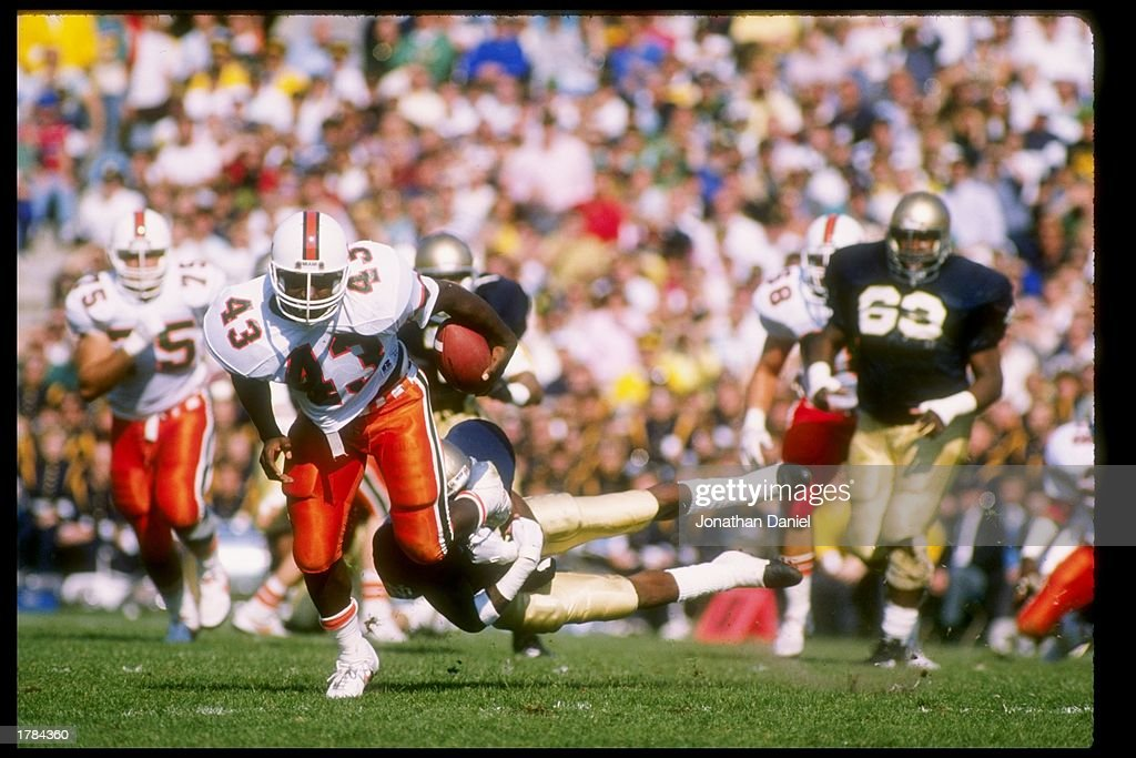 Cleveland Gary of the Miami Hurricanes runs down the field during a game against the Notre Dame Fighting Irish at Notre Dame Stadium in South Bend...