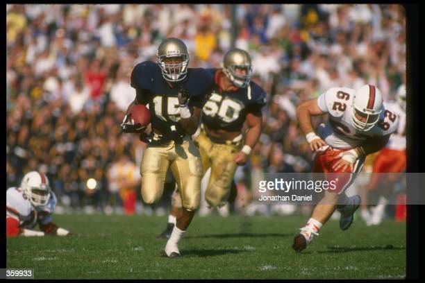 Defensive back Pat Terrell of the Notre Dame Fighting Irish runs with the ball during a game against the Miami Hurricanes at Notre Dame Stadium in...