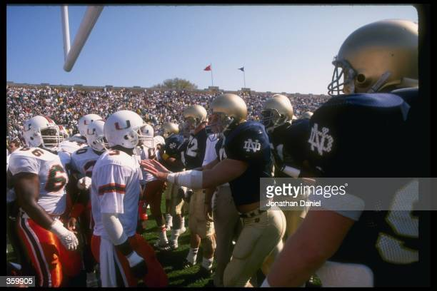 General view of a game between the Notre Dame Fighting Irish and the Miami Hurricanes at Notre Dame Stadium in South Bend Indiana Notre Dame won the...