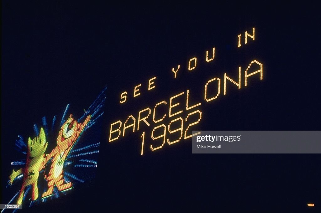 The score board advertising the Barcleona Olympic Games at the closing ceremony of the 1988 Olympic Games in Seoul, South Korea. \ Mandatory Credit: Mike Powell/Allsport