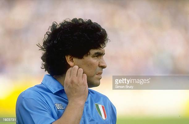 Portrait of Diego Maradona of Naples SSC during an Italian League match against AC Milan at the San Paolo Stadium in Naples Italy The match ended in...