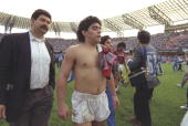 Portrait of Diego Maradona of Napoli after a match against AC Milan at the San Paolo Stadium in Naples Italy Mandatory Credit Simon Bruty/Allsport
