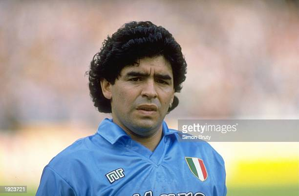 Portrait of Diego Maradona of Napoli SSC before an Italian League match against AC Milan at the San Paolo Stadium in Naples Italy The match ended in...