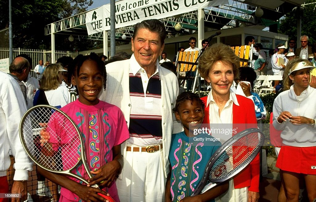 Venus and Serena Williams of the USA enjoy a day with US President Ronald Rreagan and his wife Nancy at a Nancy Reagan Tennis Event USA Mandatory...