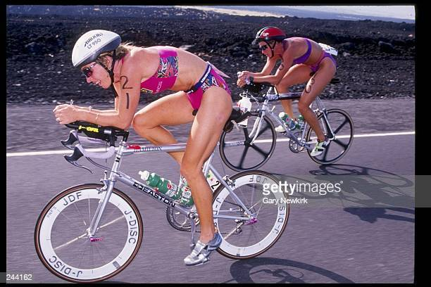 Paula NewbyFraser rides a bicycle during the Gatorade Ironman Triathlon in Kona Hawaii Mandatory Credit Gary Newkirk /Allsport